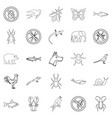 faunal icons set outline style vector image vector image