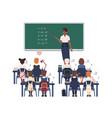 female math teacher explaining summation to vector image