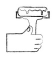 figure hand with paint roller tool to decorate vector image
