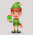 gift box give away bestow christmas elf boy santa vector image vector image