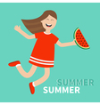 Girl jumping Happy child jump Hello summer vector image vector image