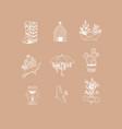 hand made floral icons garden peach vector image