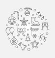 happy holidays minimal round outline vector image