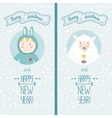 Happy new year card with boy and sheep vector image