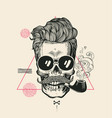 hipster skull smoke pipe print vector image vector image