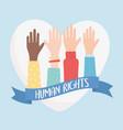 human rights raised hands love heart ribbon vector image vector image