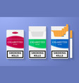 Icon of cigarette pack The open empty and closed vector image vector image