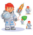 icon small child astronaut in a space vector image vector image