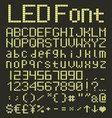 led digital alphabet and numbers set yellow led vector image vector image