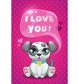 Little cute cartoon sitting dalmatian puppy saying