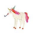 lovely unicorn wearing party hat with whistle vector image