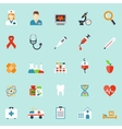 Medicine and health care icons in flat style vector image