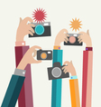 Modern flat photographers hands vector image vector image