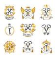 old turnkey keys emblems set heraldic design vector image vector image