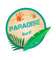 paradise surf leaves circle background imag vector image vector image