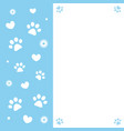paw prints and hearts on a blue frame card vector image vector image
