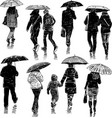 people under umbrellas vector image
