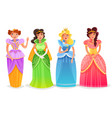 princesses cartoon set vector image
