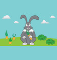 rabbit rests in his garden among carrots and vector image vector image
