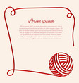 red clew papercut yarn border with thread vector image vector image