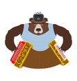 Russian patriot bear with accordion Wild animal vector image vector image