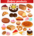 set baking with bread loaf pie cake donuts and vector image vector image