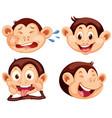 set of monkey facial expression vector image vector image
