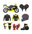 set of motorcycle accessories Design vector image