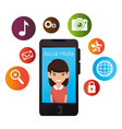 smartphone with social media icon vector image vector image