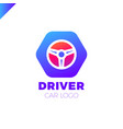 steering wheel in hexagon icon logotype driver vector image vector image