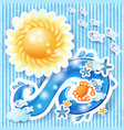 summer background with sun and wave vector image