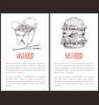 takeaway or carry-out noodle and burger fast food vector image