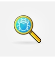 Virus in magnifying glass logo vector image