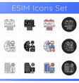 what makes america famous icons set vector image
