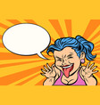 young woman showing tongue funny vector image vector image