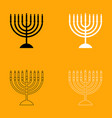 menorah for hanukkah set black and white icon vector image