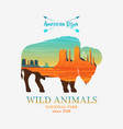 mountains and buffalo silhouette wild animal vector image