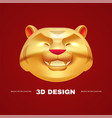 3d gold asian tiger happy chinses new year design vector image