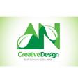 an green leaf letter design logo eco bio leaf vector image vector image
