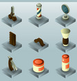 barber shop color gradient isometric set vector image