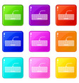 black computer keyboard icons 9 set vector image vector image