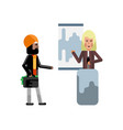 blonde woman doing business presentation vector image vector image