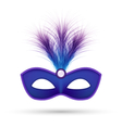 Blue carnival mask with fluffy feathers isolated vector image vector image