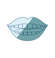 blue shading silhouette of smiling mouth vector image