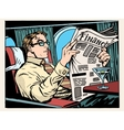 Business class plane businessman reads the press vector image vector image