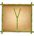 capital letter y made of green bamboo sticks on vector image vector image