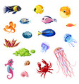 cartoon colorful sea life set vector image vector image