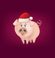 cartoon pig with santa hat vector image