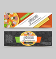 cartoon pizza pizzeria flyer background vector image vector image