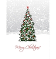 Christmas tree postcard design vector image vector image